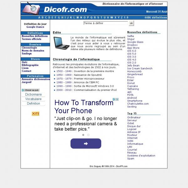 Logo Dictionnaire de l'informatique et d'internet