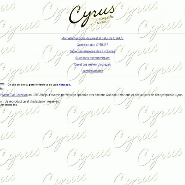 Logo Cyrus : L'encyclopédie qui raconte