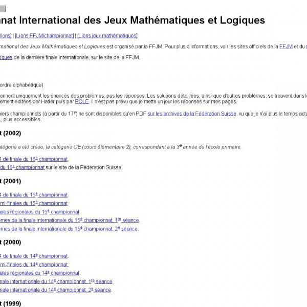 Logo Championnat International des Jeux Mathématiques et Logiques